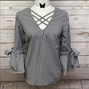Tempted Gingham Blouse with Bell Sleeves